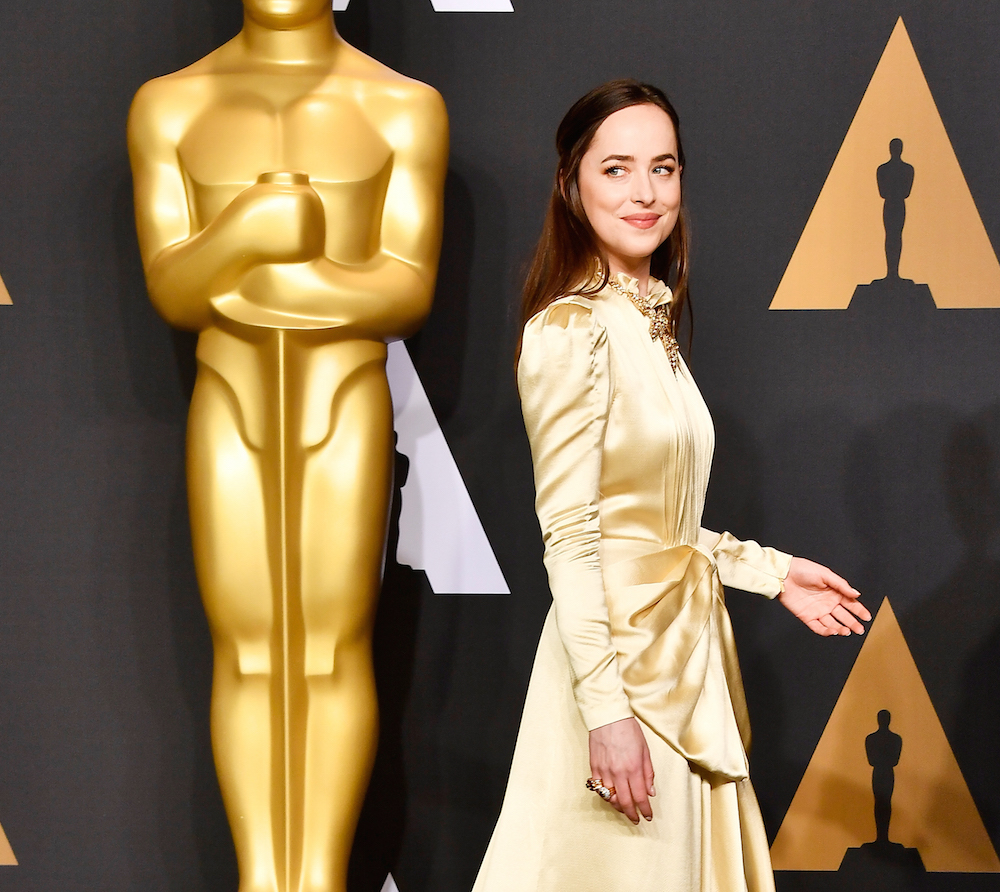 These celebrities were emulating the Oscars trophy in their golden gowns on the red carpet