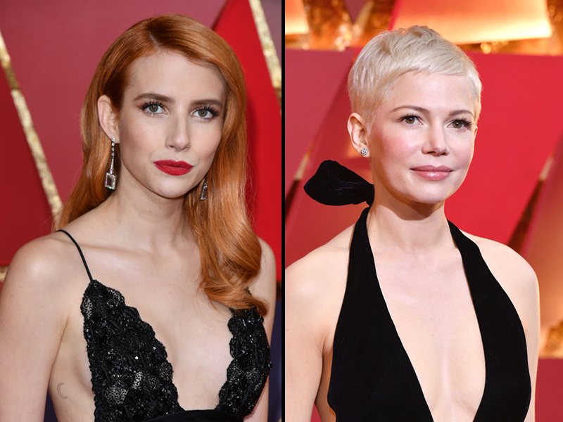 In case you didn't notice, Michelle Williams and Emma Roberts were totally twinning at the Oscars