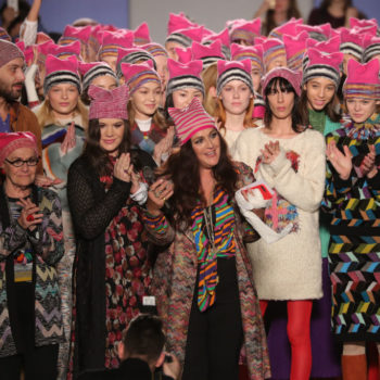 This designer sent pink pussy hats down the runway at Milan Fashion Week, and we're giving a standing ovation