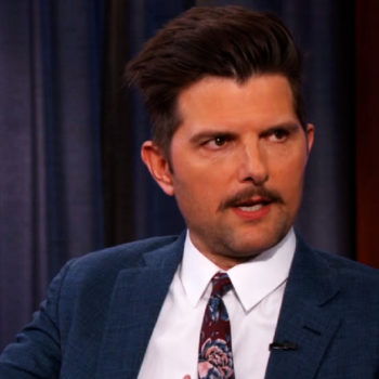 A mustachioed Adam Scott told a story about how his son stole from Jimmy Kimmel, and it's actually pretty adorable