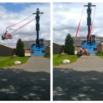 Someone invented a motorcycle swing attached to a crane, and it is absolutely dizzying