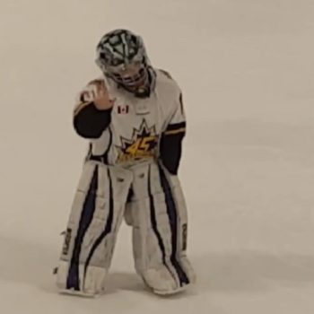 This 8-year-old hockey goalie danced in full uniform on the ice and was extremely excellent