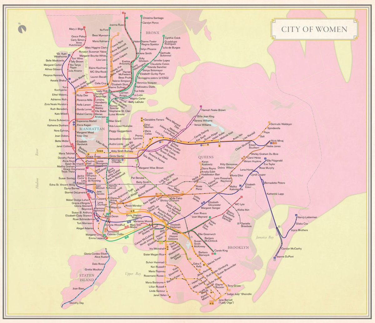Check out the NYC subway map that pays homage to the city's most accomplished women