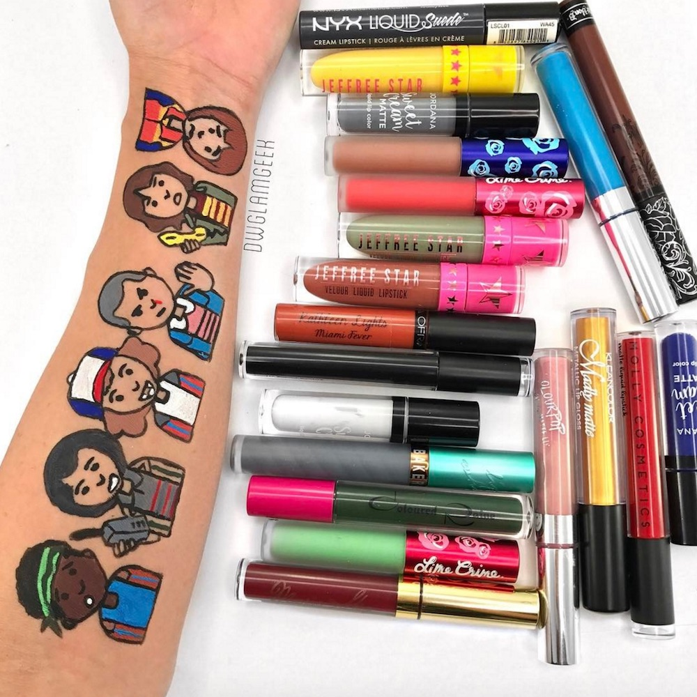 This makeup artist takes lipstick and eyeshadow swatches to a whole new level