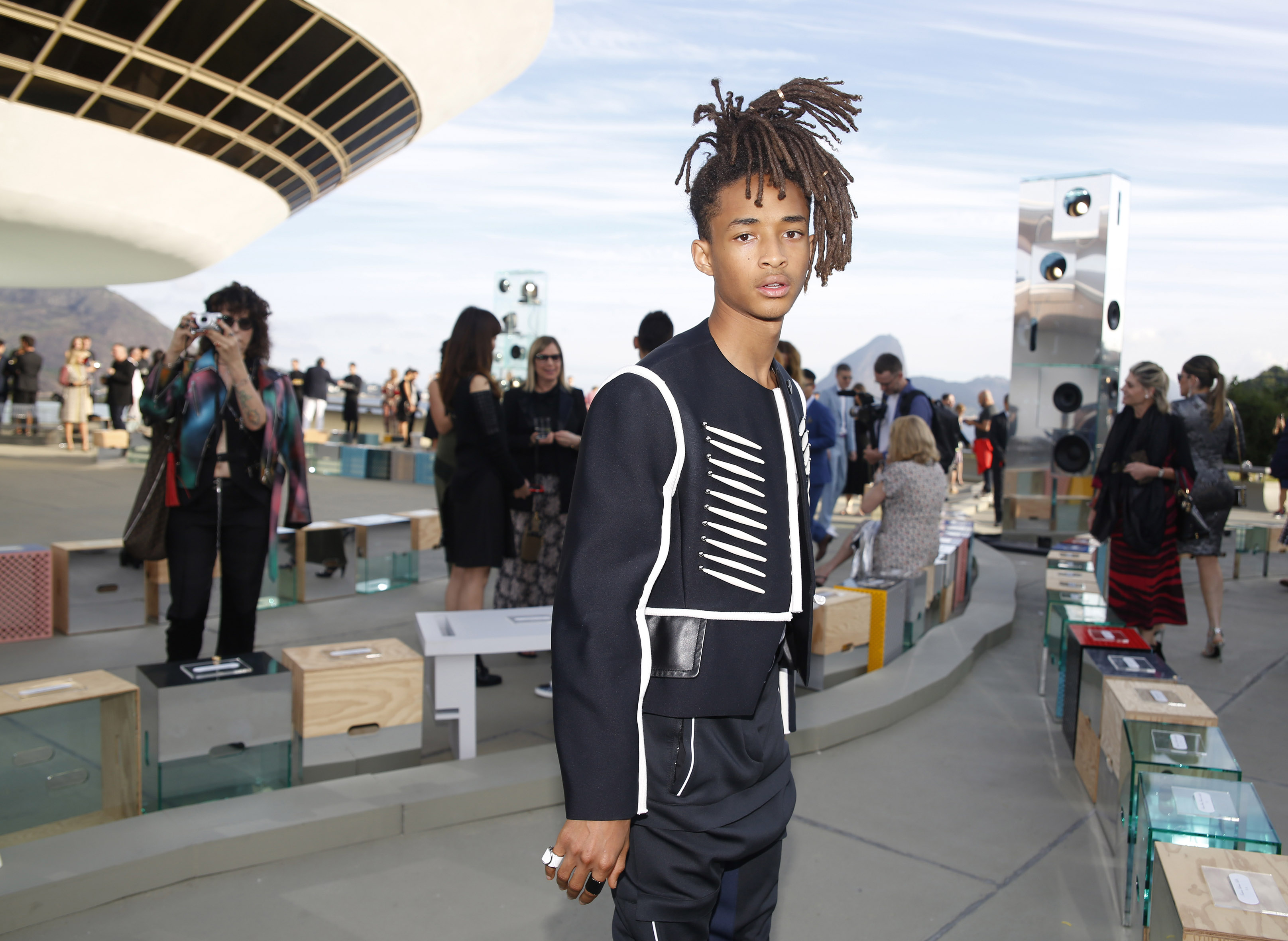 Jaden Smith and Sasha Lane were twinning with huge ponytails at the Louis Vuitton show