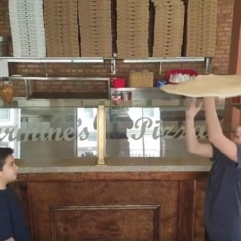 These two kids spining and tossing pizza dough like pros is weirdly so motivational