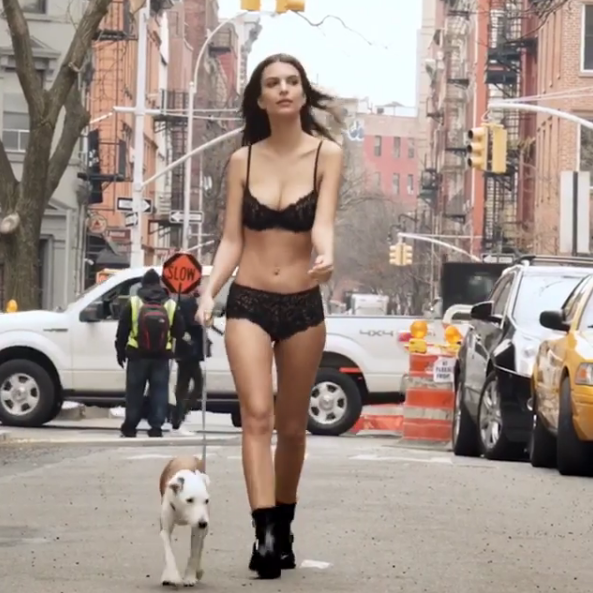 This is why Emily Ratajkowski stripped down to her bra and panties to walk her dog