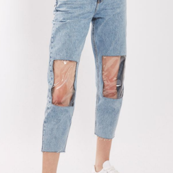 """The internet is freaking out over these """"clear knee mom jeans"""""""