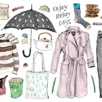 Your rainy day look, illustrated