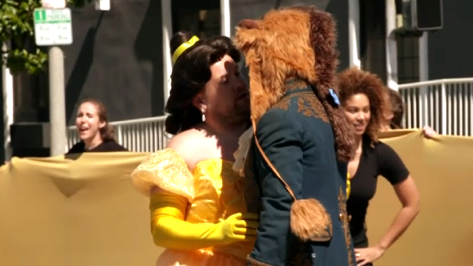 "James Corden performed an epic version of ""Beauty and the Beast"" in the middle of a crosswalk"