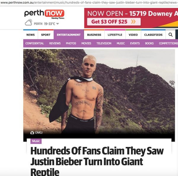 Justin Bieber reptilian article screenshot