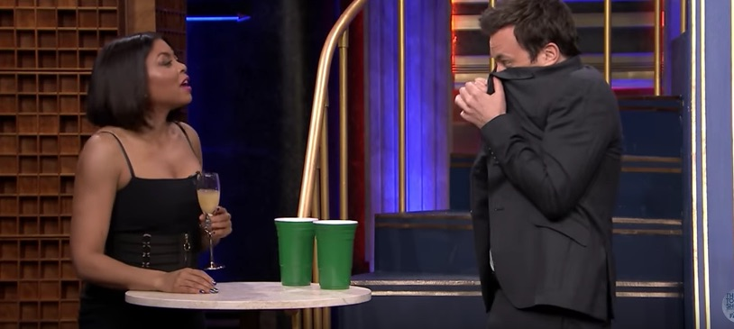 Taraji P. Henson had to gulp down a pretty gross-looking cabbage juice cocktail with Jimmy Fallon