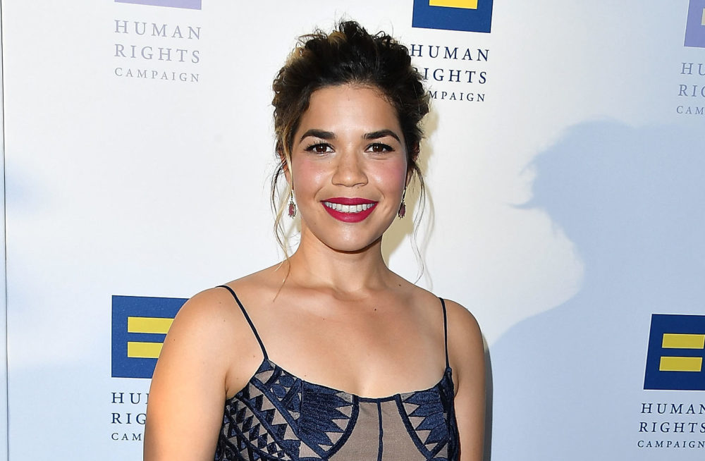 America Ferrera's geometric cutout dress just shot straight to the top of our summer wedding outfit list