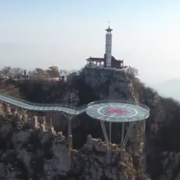 This glass bridge in China overlooks a gorge, and it's absolutely going to make you dizzy