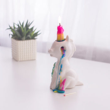 This crying unicorn candle is straight out of a Lisa Frank nightmare
