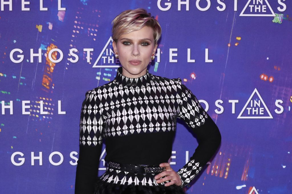 Scarlett Johansson just rocked feathers AND chevron in the same outfit, because YOLO