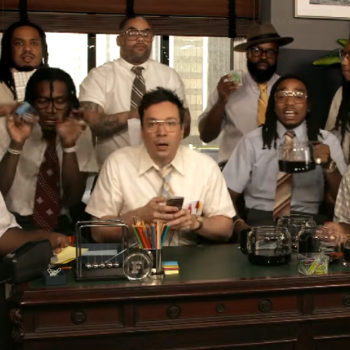 "Jimmy Fallon and Migos expertly play ""Bad and Boujee"" on office supplies"