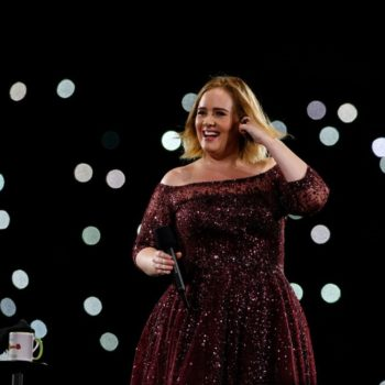 Adele freaking out about a bug on her leg mid-concert is all of us