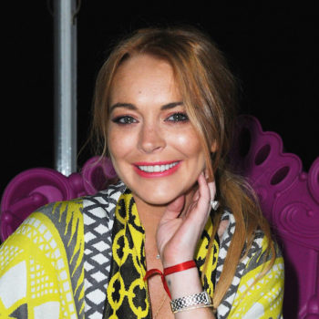 Lindsay Lohan has welcomed spring 2017 with a floral one-piece swimsuit