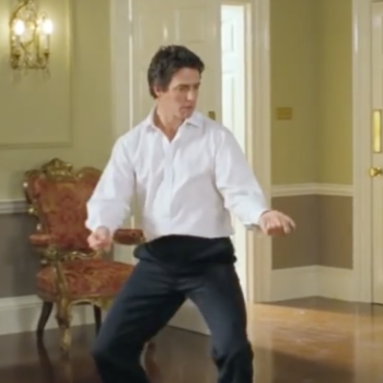 "We're having major ""Love Actually"" flashbacks watching Hugh Grant dance to ""Hotline Bling"""