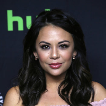 "Janel Parrish's mini looks like a scrumptious pastel cupcake holder at the ""Pretty Little Liars"" Paleyfest Panel"