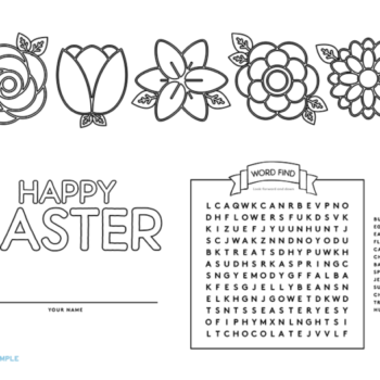 Here are some trés adorable placemats you can print out and color in for Easter