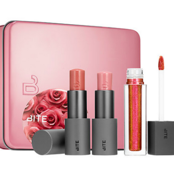 You can get your hands on Bite Beauty's millennial pink-themed lip set at Sephora