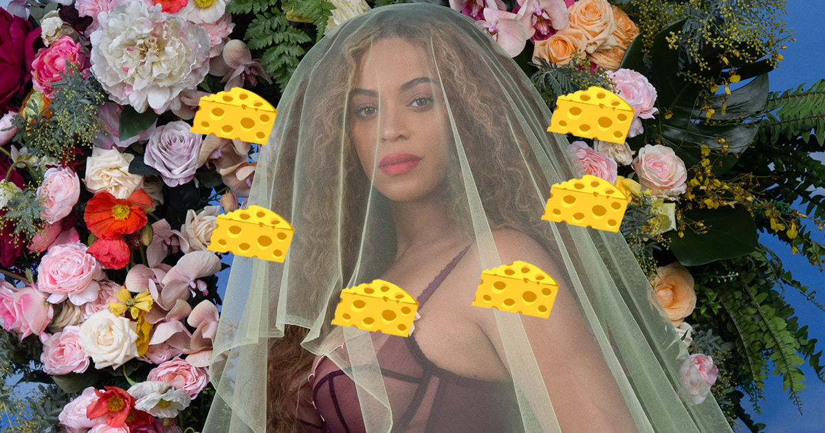 This artist recreated Beyoncé's pregnancy shoot with cheese, and it's deliciously weird