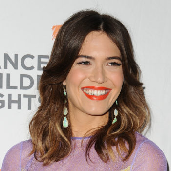 Mandy Moore put a playful spin on the monogrammed jacket movement