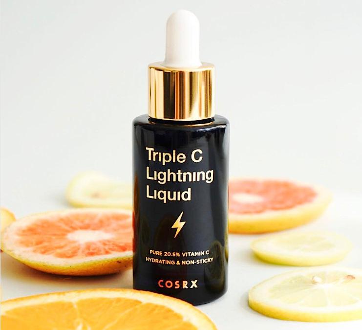 This new Triple C Lightning Liquid serum is like an orange for your face, because it's packed with Vitamin C