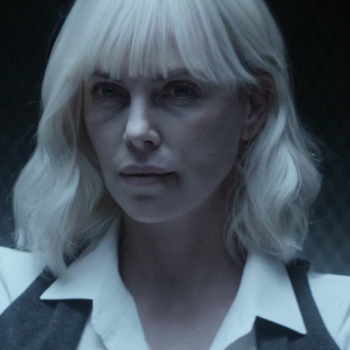 "Watch Charlize Theron fight a dude with just *her high heel* in the new ""Atomic Blonde"" trailer"