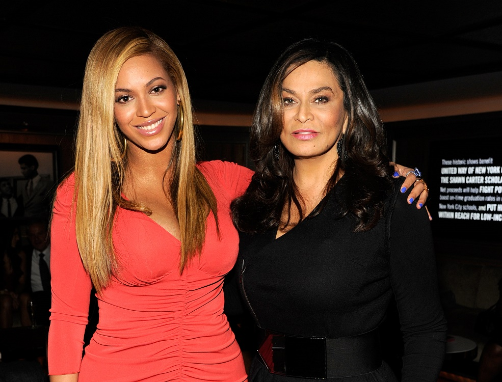 Tina Knowles shared this photo of Beyoncé, her bump, and Kelly Rowland for Easter