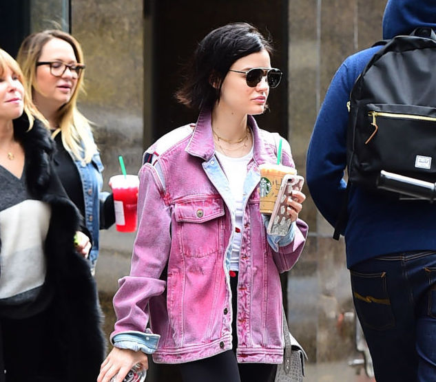 Lucy Hale's pink denim jacket has us coveting our own pastel denim look