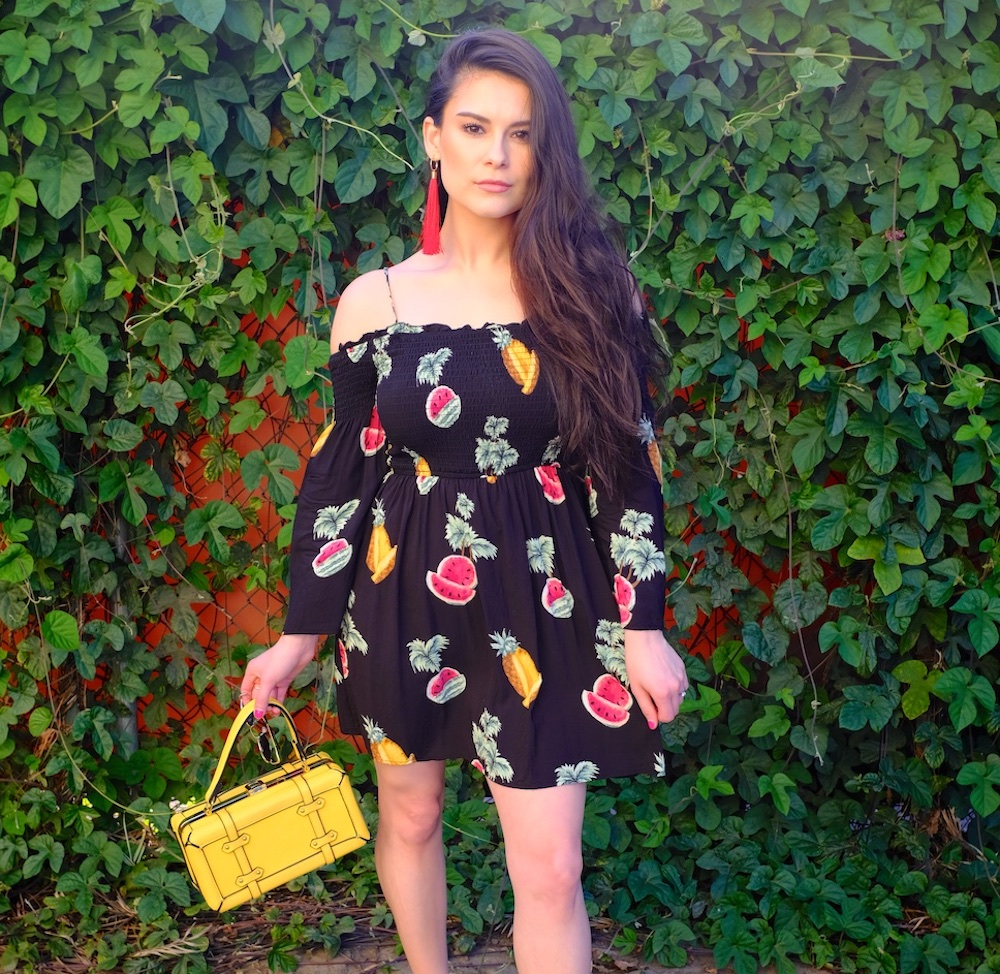 """This fruity dress makes me feel like a mix between Carmen Miranda and Frenchy from """"Grease"""""""