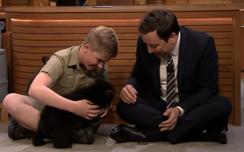 "Steve Irwin's 13-year-old son Robert playing with baby bears on ""The Tonight Show"" is the most charming thing we've seen this week"