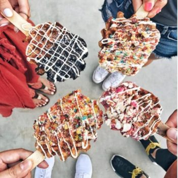 Move over cake pops, waffle pops have stolen our heart (and our toppings)