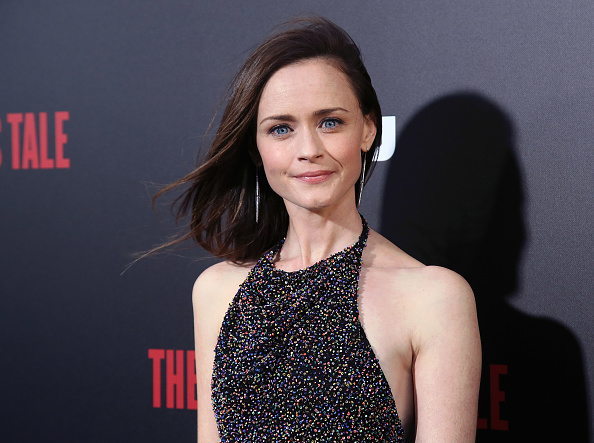 If you look closely at Alexis Bledel's midi dress, you'll see that it's made of tiny little rainbows