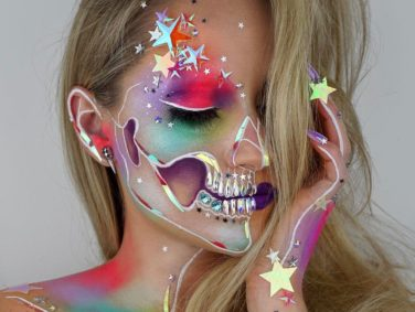 This dream-like skeleton makeup will make you want to host a Halloween party months early