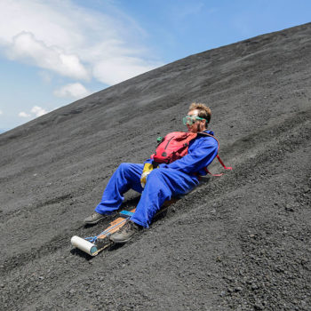 This guy went sledding down the side of an active volcano, and it looks incredibly scary and fun