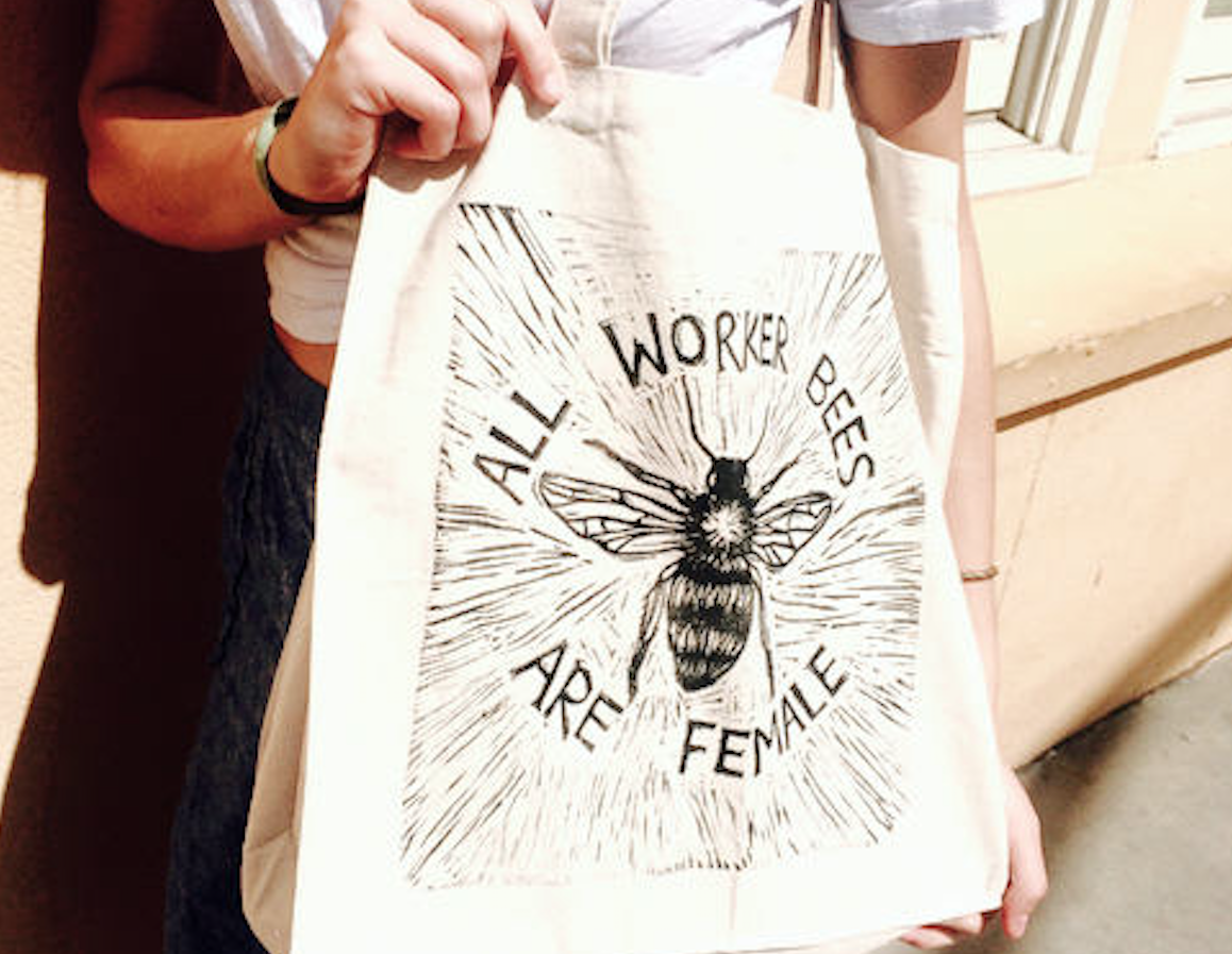 These bee totes are for the feminist who wants to buy fresh flowers at the farmers' market