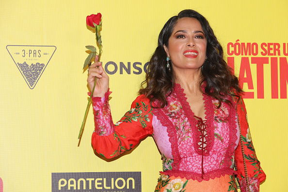 Salma Hayek's take on florals for spring is groundbreaking in this feisty dress