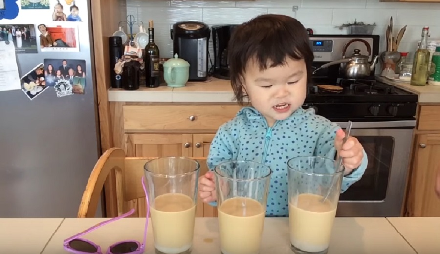 This adorable toddler making boba milk tea is the cutest thing you'll watch all day