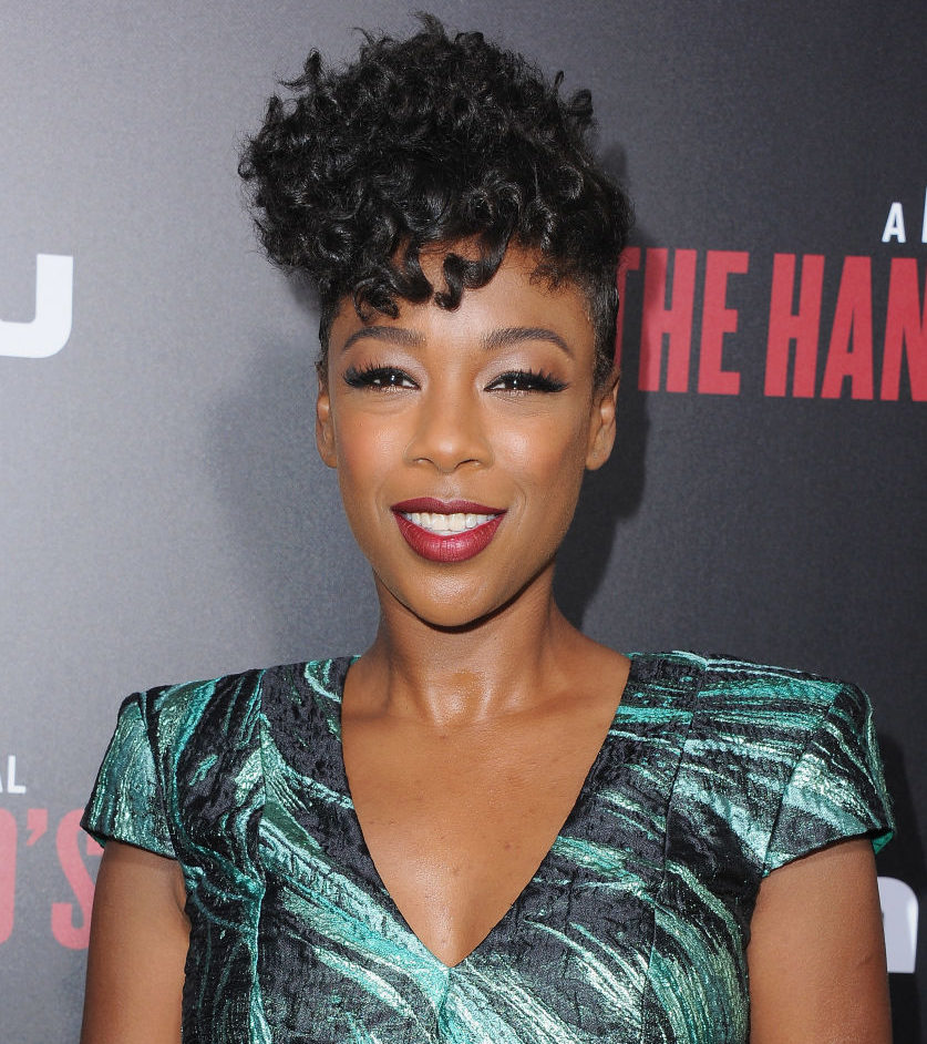 We so need Samira Wiley's structured floral cocktail dress to become a trend