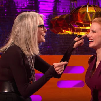 Diane Keaton just got real about movie makeout sessions…and then practiced with Jessica Chastain