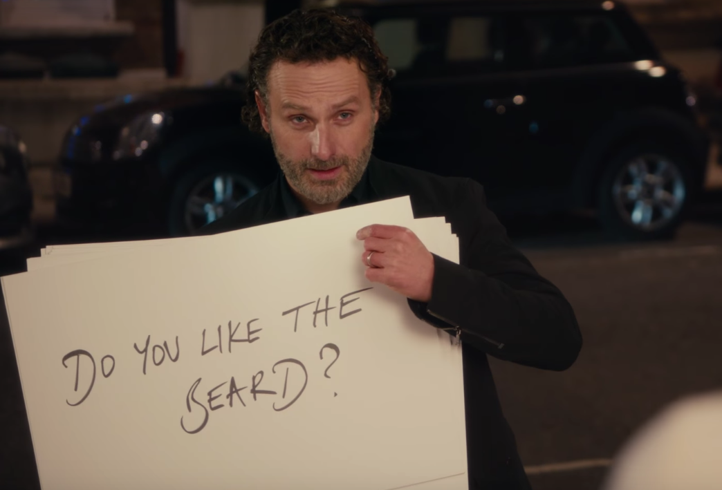 """Keira Knightley is iffy about Andrew Lincoln's beard in the """"Love Actually"""" Red Nose Day trailer"""