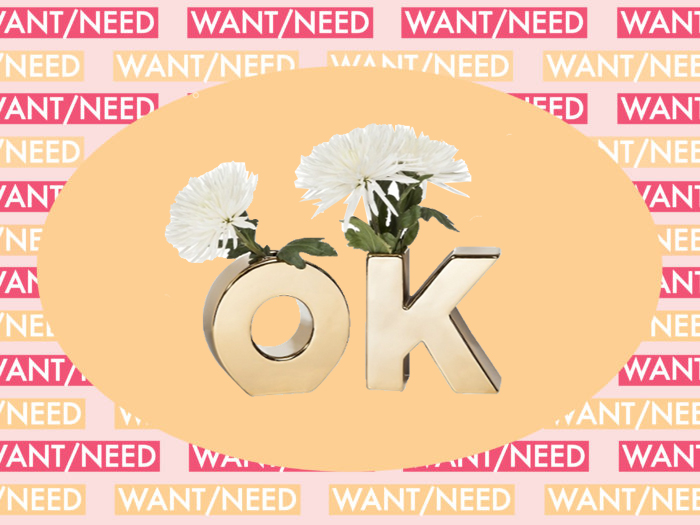 "WANT/NEED: This vase says ""OK"" because sometimes you need the affirmation, plus more"