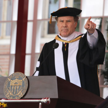 "Will Ferrell gave a rousing performance of ""I Will Always Love You"" to a group of college grads"