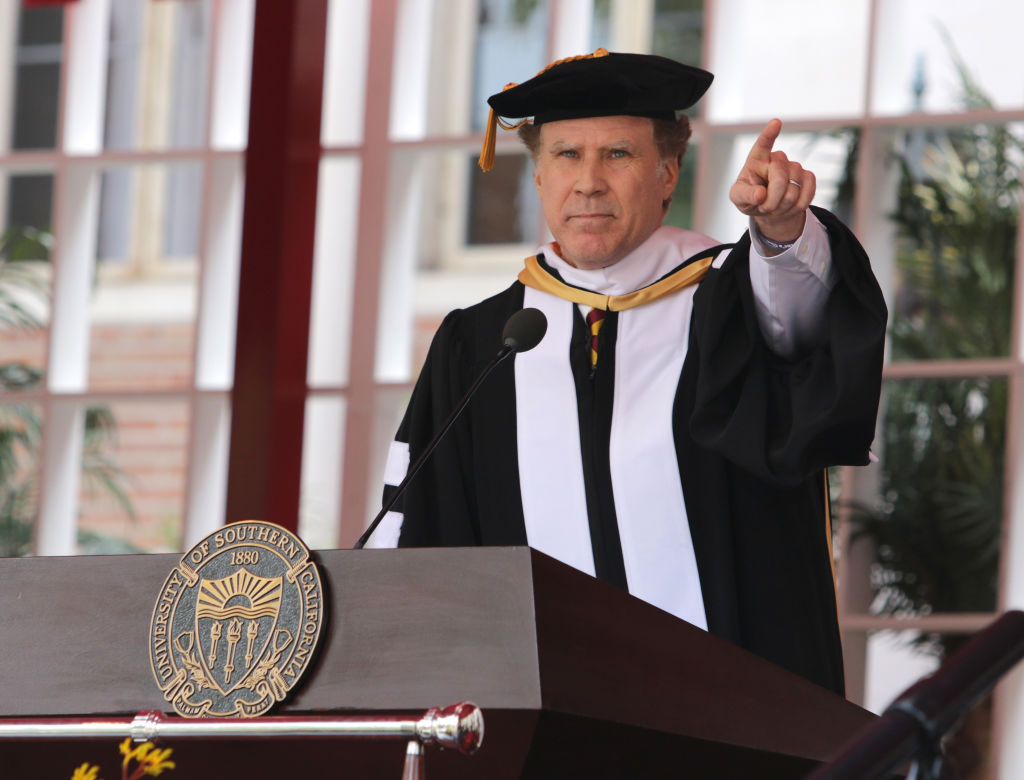 """Will Ferrell gave a rousing performance of """"I Will Always Love You"""" to a group of college grads"""