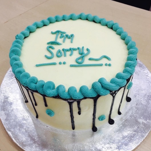 There's going to be a whole series dedicated to apology cakes, if you're into that sort of thing