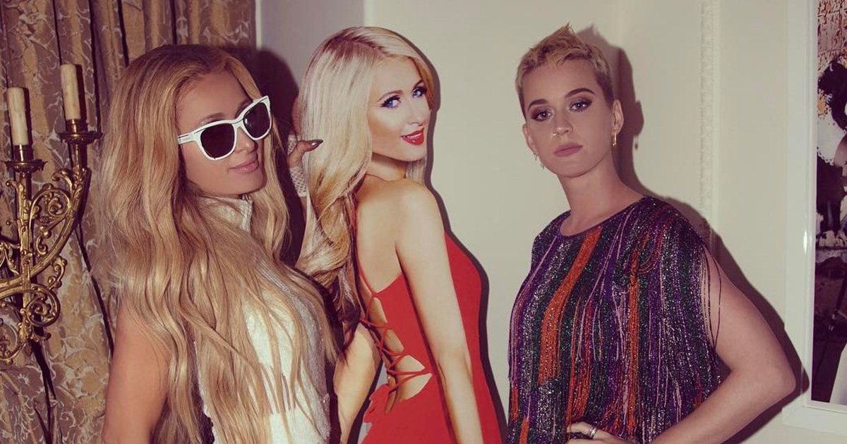 Katy Perry spent the night at Paris Hilton's mansion, and she totally freaked out about it